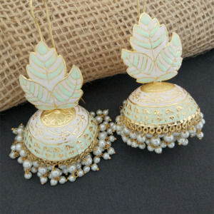 Light Green Meenakari Big Jhumka Earrings for Wedding