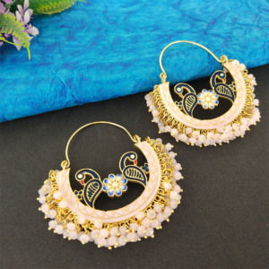Light Pink Pearl Hoop Earrings for Lehenga