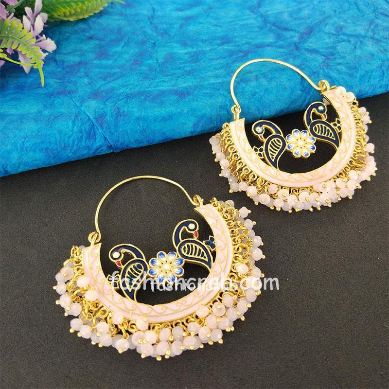 Light Pink Pearl Hoop Earrings for Lehenga