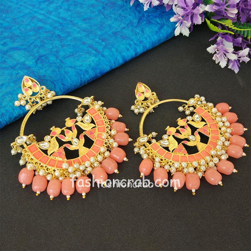 Peach Pearl Meenakari Celebrity Earrings