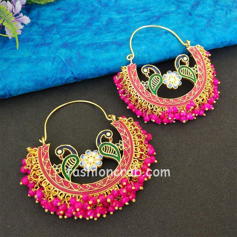 Pink Pearl Hoop Earrings for Lehenga