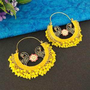 Yellow Pearl Hoop Earrings for Lehenga