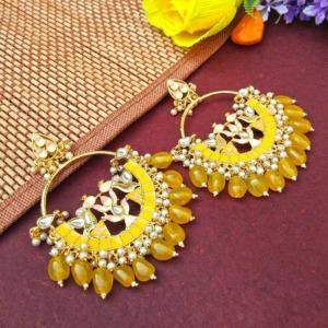 Yellow Pearl Meenakari Celebrity Earrings