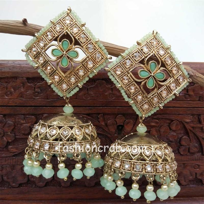 Big Size Jhumka for Sea Green Color Gown