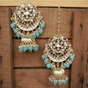 Blue Pearl Kundan Celebrity Jhumka Earring