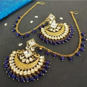 Dark Blue Pearl Kundan Earrings with Maangtikka for Lehenga