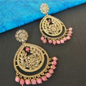 Gold Tone Earrings for Pink Gown