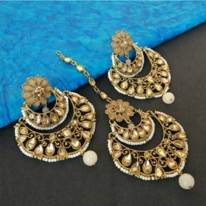 Gold Tone Earrings with Tikka Set for Wedding