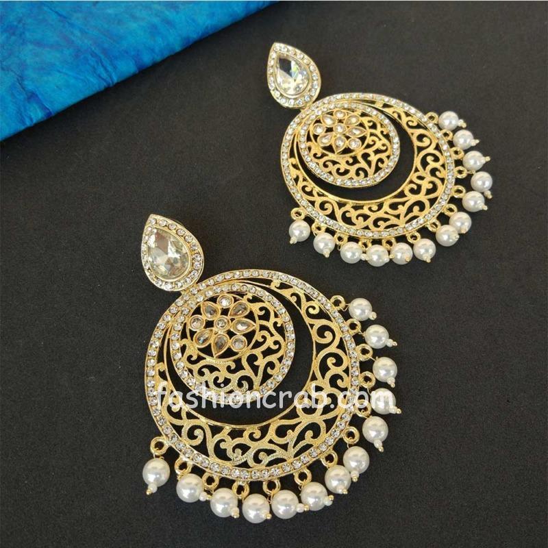 Gold Tone Pearl Chandbali Earring
