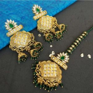 Gold Tone Pearl Earring with MaangTikka for Green Saree