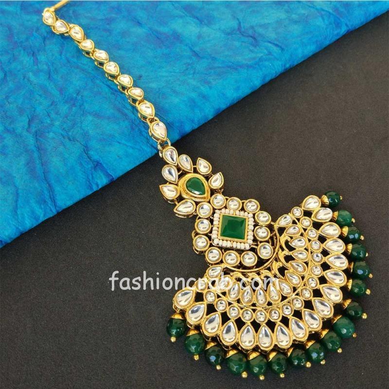 Green Colour Pearl Earrings with Maang Tikka Set