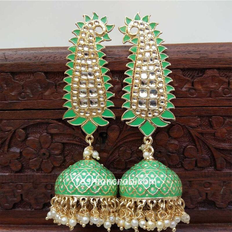 Green Meenakari Long Jhumka Earring