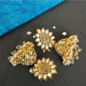 Grey Pearl Kundan Jhumka for Bride