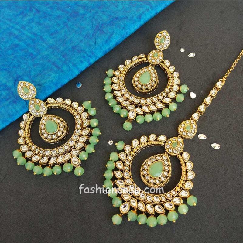 Light Green Colour Kundan Earring with Maangtikka