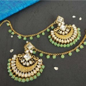 Light Green Pearl Kundan Earrings with Maangtikka for Lehenga
