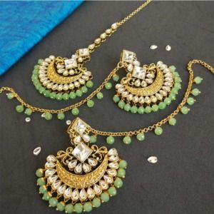 Light Green Pearl Kundan Earrings with Maangtikka for Lehenga