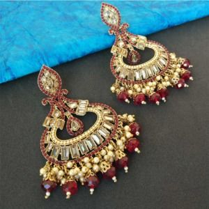 Maroon Pearl Earrings for Party