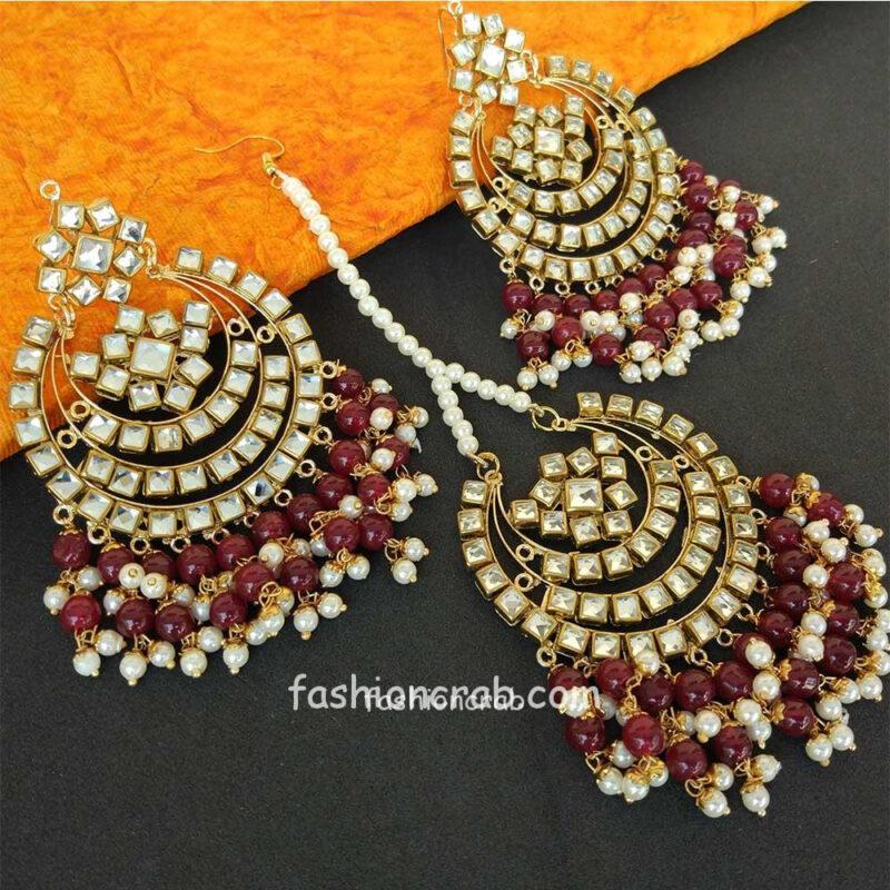 Maroon Pearl Punjabi Earrings with Tikka for Wedding