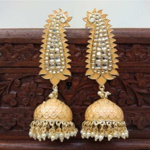 Orange Meenakari Long Jhumka Earring
