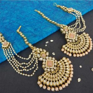 Peach Colour Pearl Earrings with Maang Tikka Set