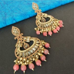 Pink Pearl Earrings for Party
