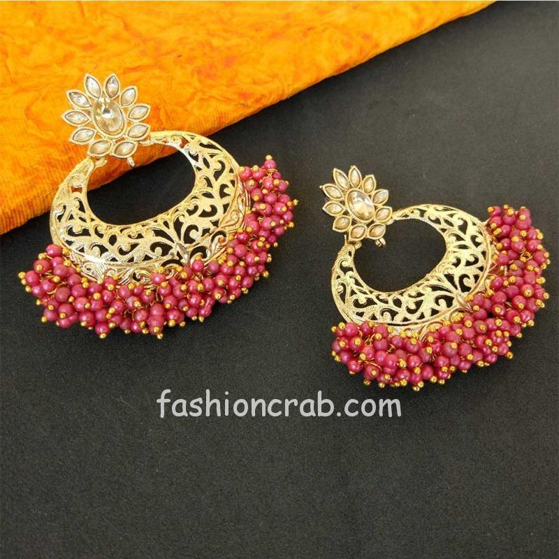 Pink Pearl Hoop Earring