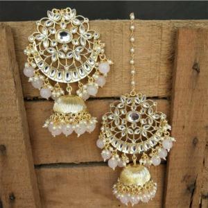 Pink Pearl Kundan Celebrity Jhumka Earring
