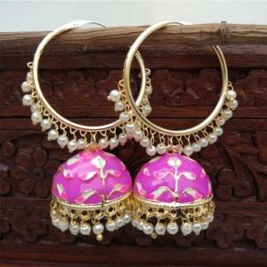 Purple Jhumka Hoop Earring