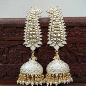 White Meenakari Long Jhumka Earring