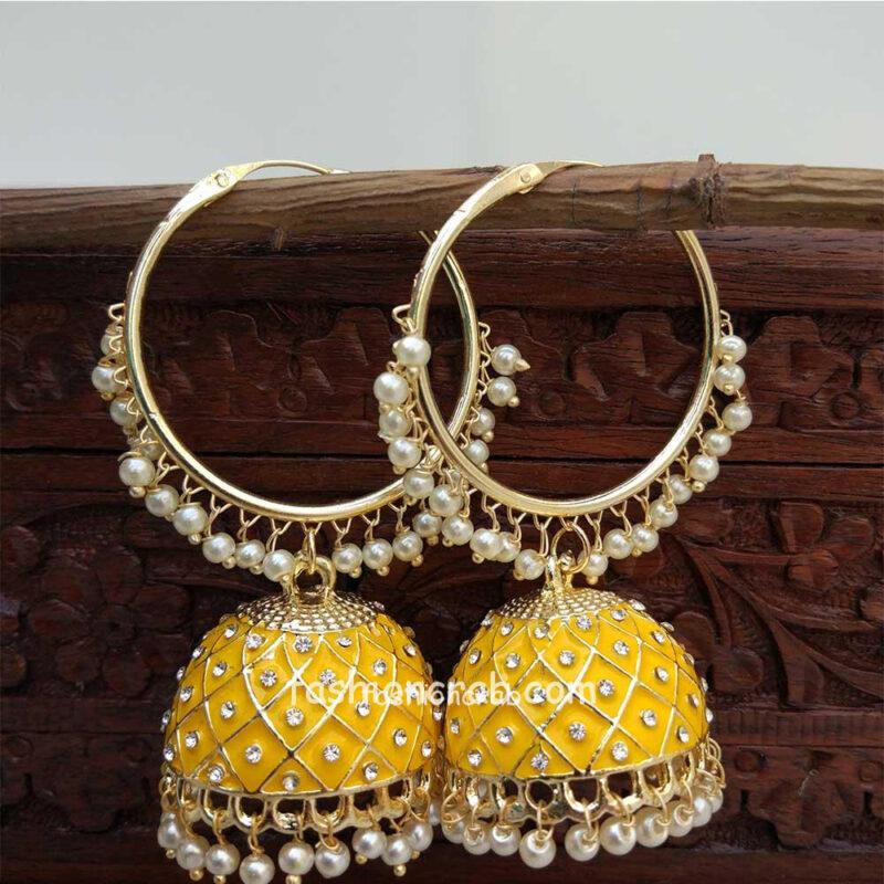 Yellow Colour Jhumka with Bali