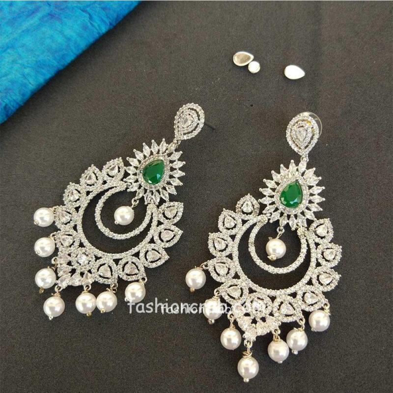 Ad Green Stone Studded Drop Earrings
