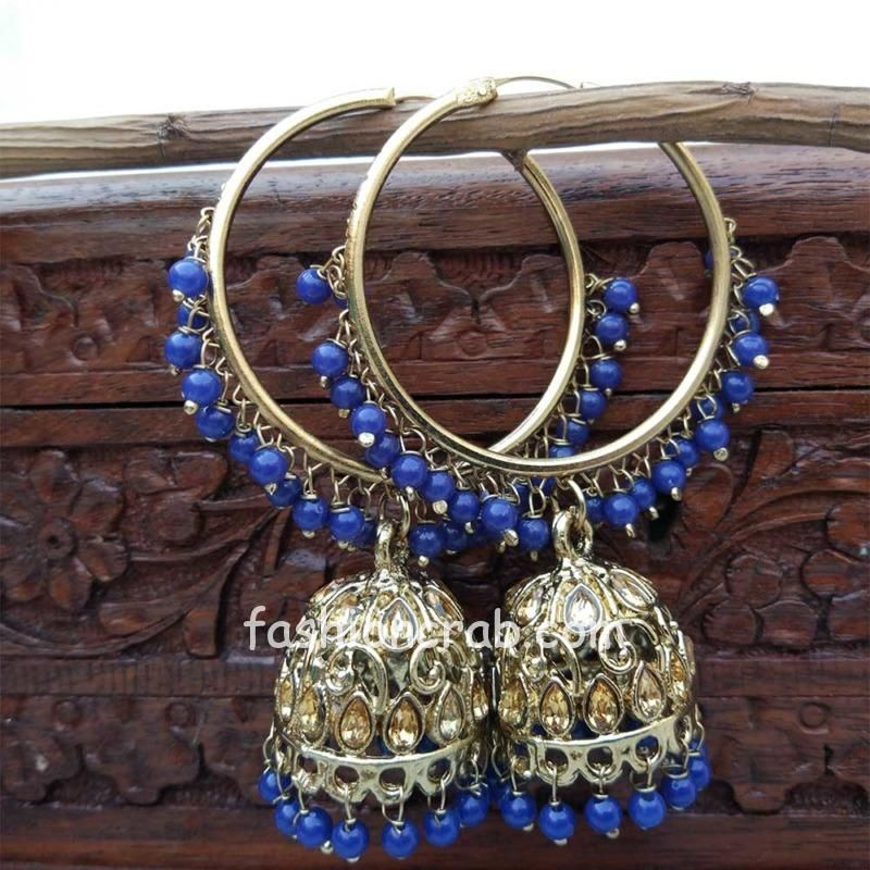 Blue Jhumka Earring with Bali