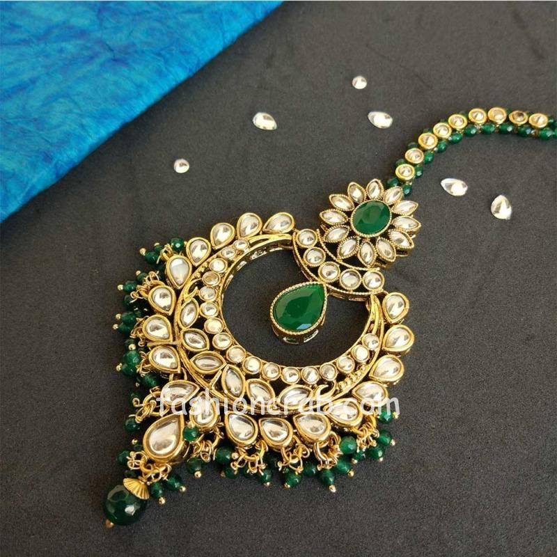 Dark Green Floral Pearl Earring with Maang tikka Set