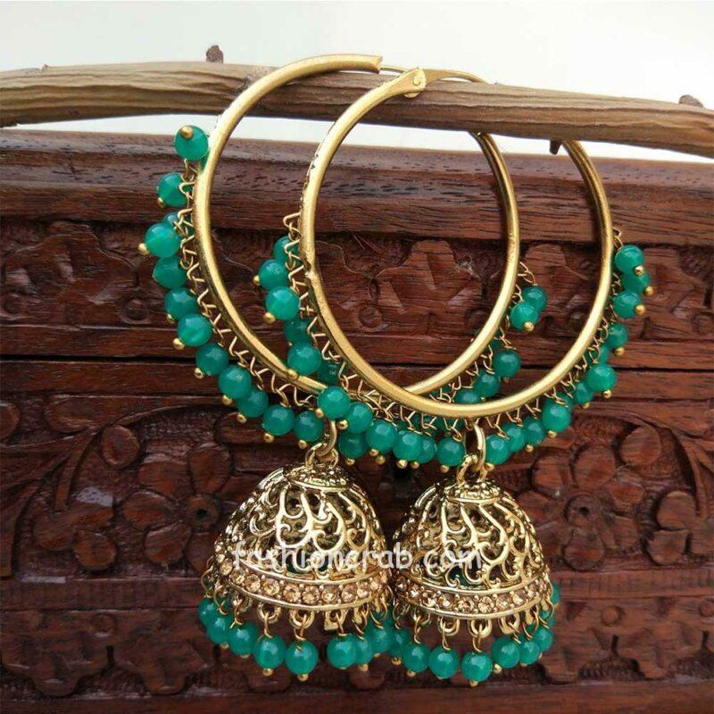 Green Jhumka Earring with Bali