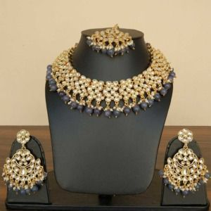 Grey Kundan Necklace Set for Bride