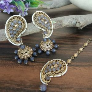 Grey Pearl Polki Jhumki with Maangtikka