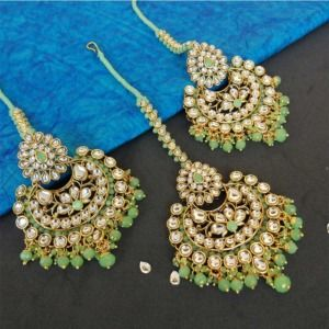 Light Green Colour Ethnic Kundan Earring with Maangtikka Set