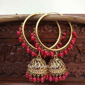 Maroon Jhumka Earring with Bali