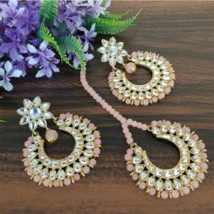 Peach Gold Tone Kundan Beaded Jewellery Set for Wedding