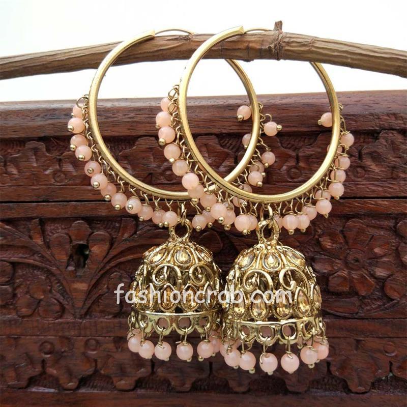 Peach Jhumka Earring with Bali