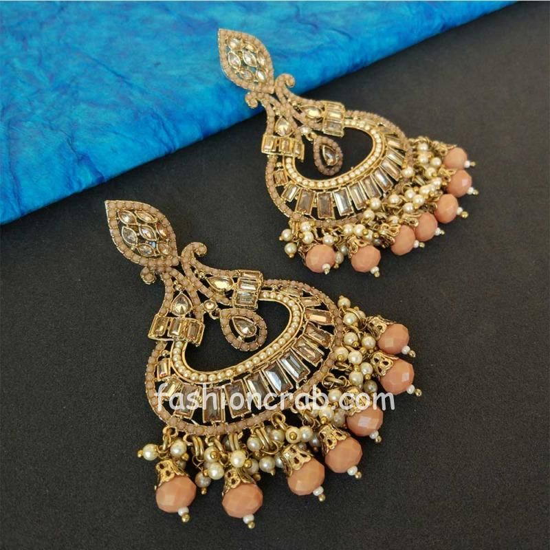 Peach Pearl Earrings for Party