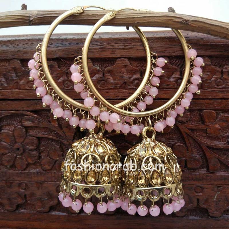 Pink Jhumka Earring with Bali