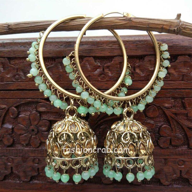 Sea Green Jhumka Earring with Bali