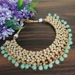 Sea Green Kundan Necklace Set for Bride