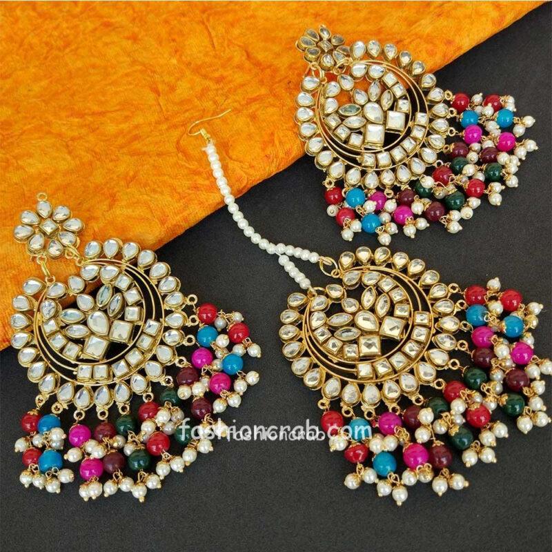 Traditional Punjabi MultiColour Maang Tikka Set for Suit