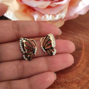 Black Butterfly Crystal Studs