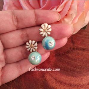 Blue Pearl Flower Stud Earrings