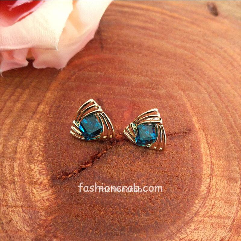 Blue Stone Crystal Earrings