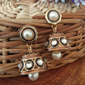 Brown Colour Jhumka Earrings with Pearl