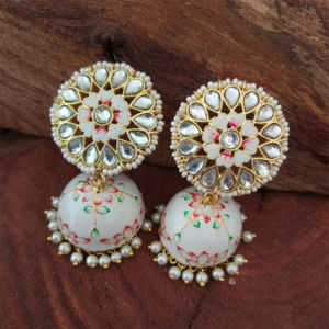 Floral Hand Painted White Meenakari Jhumka for Women
